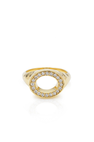 Gold & Diamond Perimeter Hollow Signet Ring thumbnail