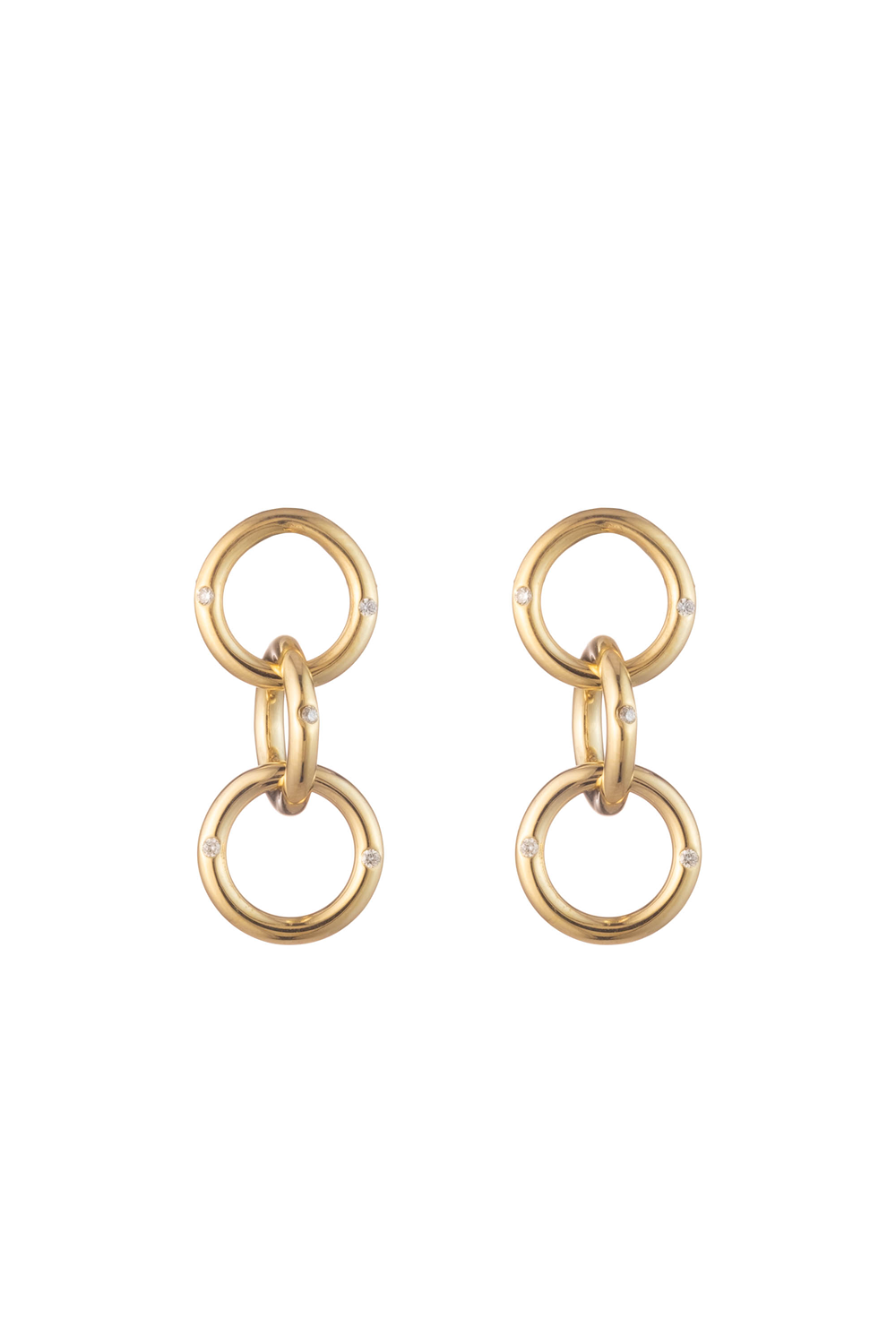 Small Triple Gold & Diamond Hoop Earrings