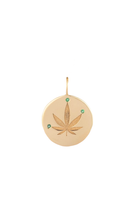Gold & Emerald Cannabis Leaf Charm thumbnail