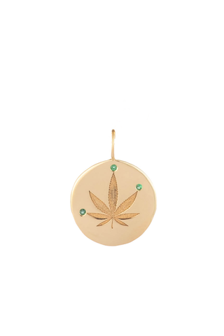 Gold & Emerald Cannabis Leaf Charm