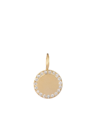 Small Round Gold & Diamond Perimeter Charm