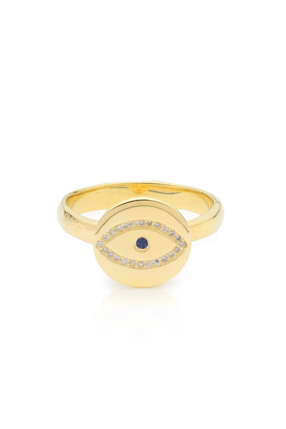 Gold Diamond & Sapphire Evil Eye Ring