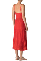 Pleated Knit Dress in Red thumbnail