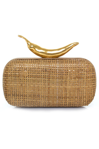 Chilli Box Clutch in Straw