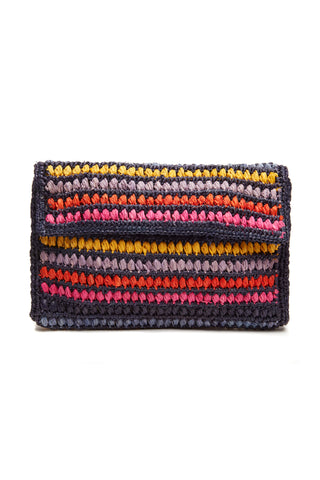 Chloe Navy Crocheted raffia clutch