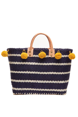 Sola Navy Woven Sisal Basket Tote
