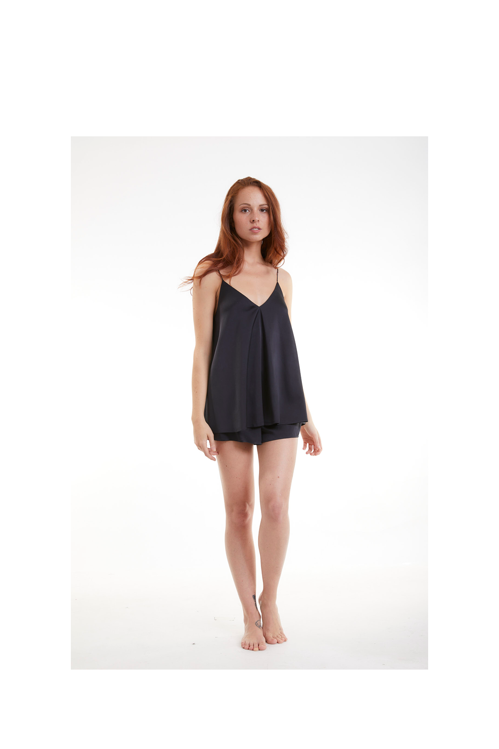 White lotus organic peace silk cami sleep set black