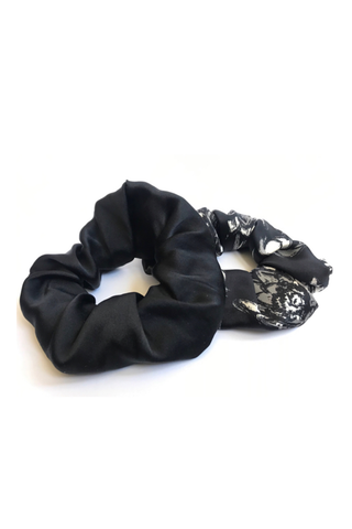 White lotu organic peace silk hair scrunchies