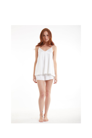 White lotus organic peace silk cami sleep set ivory