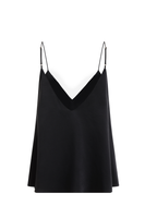 White Lotu double faced organic peace silk camisole black thumbnail