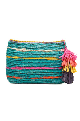 Evia Aqua Crocheted Raffia Clutch