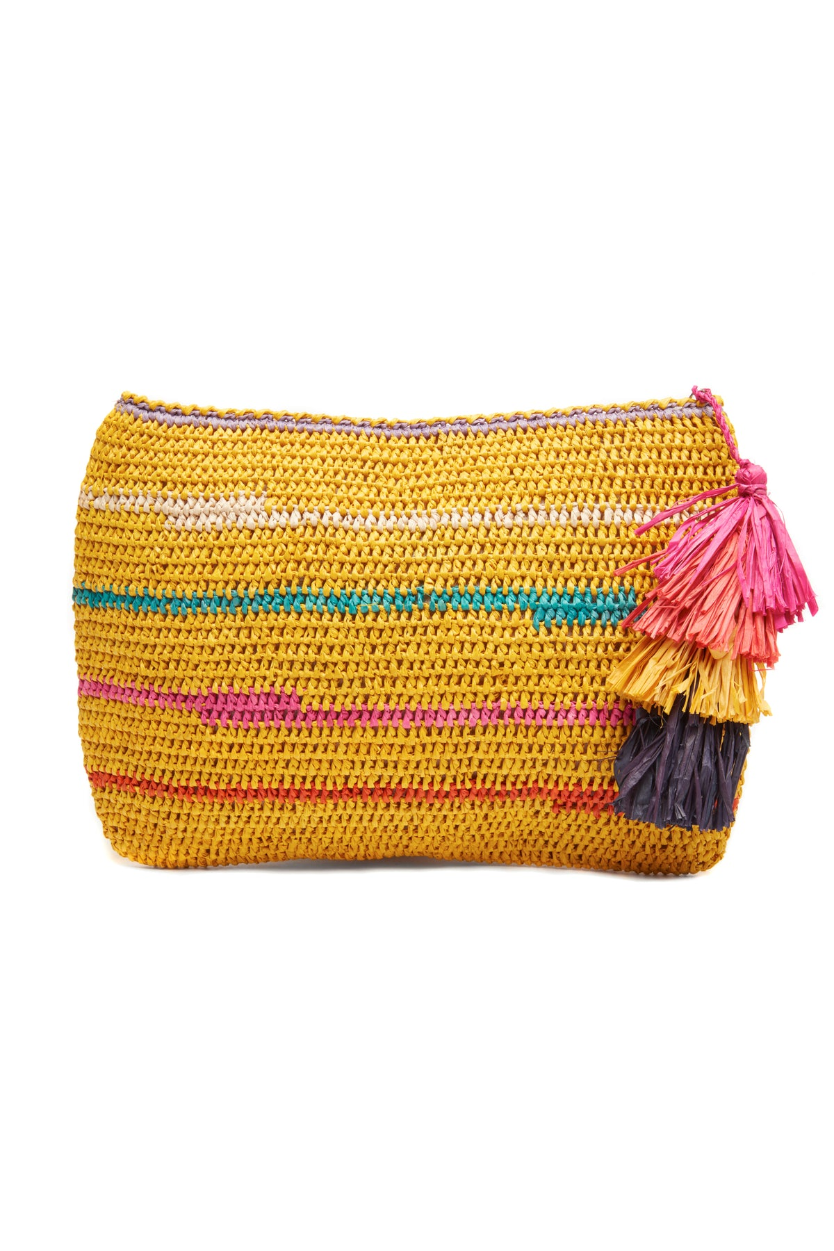 Evia Sunflower Crocheted Raffia Clutch