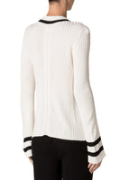 Ribbed Knit Pullover in White & Stripe thumbnail