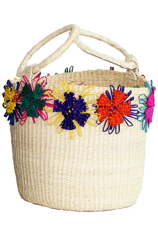 Flowers Bucket Bag in Natural