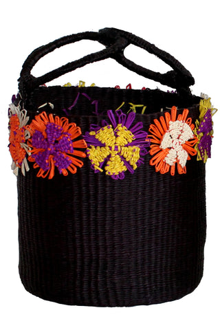 Flowers Bucket Bag in Black