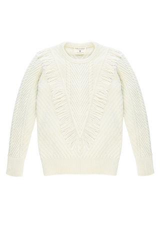 Ashbury Fringe Crewneck in Natural