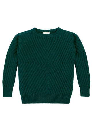 Caitlin Chevron Rib Pullover in Forest Green