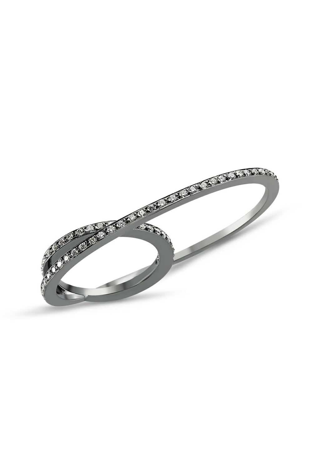 Thick Black Gold Double Ring with Grey Diamonds