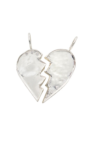 Sterling Friendship Heart Charms with Diamonds