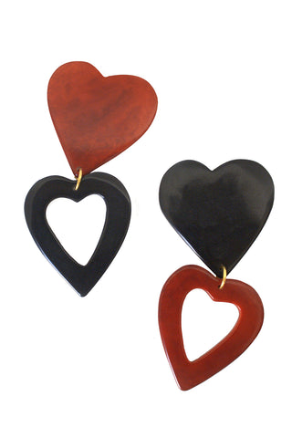 Heart Earrings in Red & Black