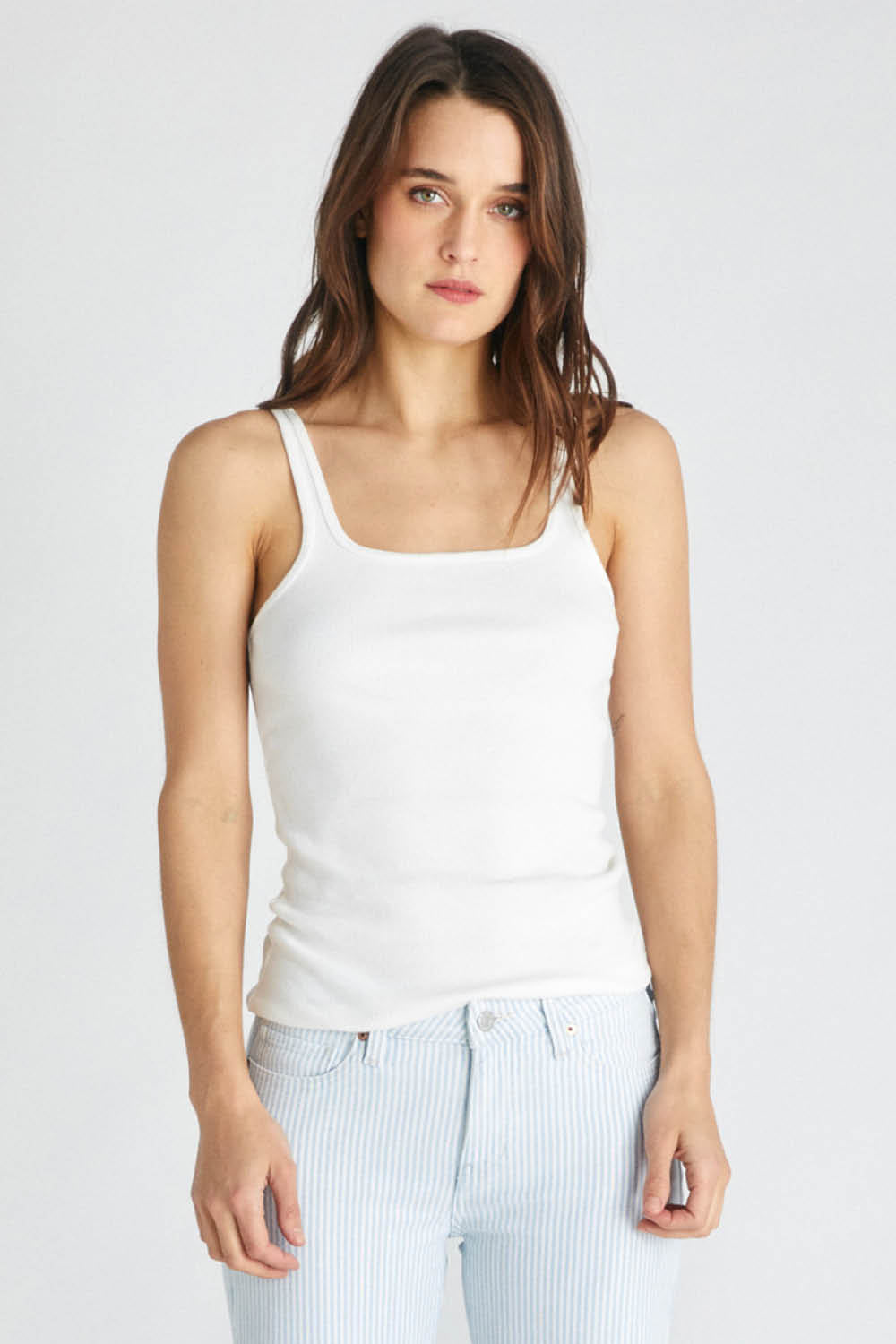 Jolene Rib Tank in White