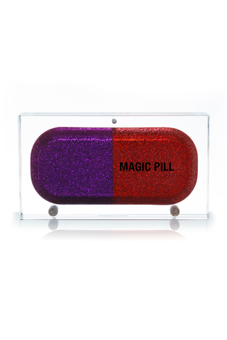 Magic Pill Clutch in Red & Purple Glitter