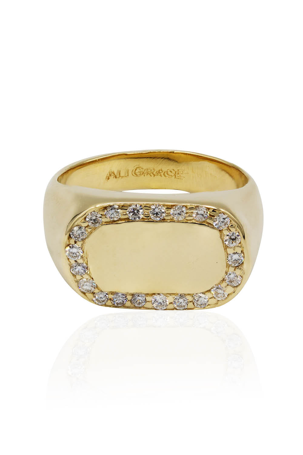 14k Yellow Gold Signet Ring with Diamond Pave