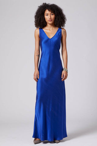 Double V Slip Dress in Electric Blue