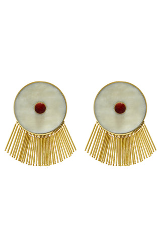 Lluvia Earrings in Red & White