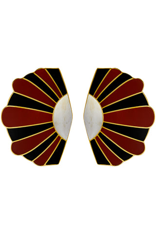 Mullu Earrings in White, Red & Black