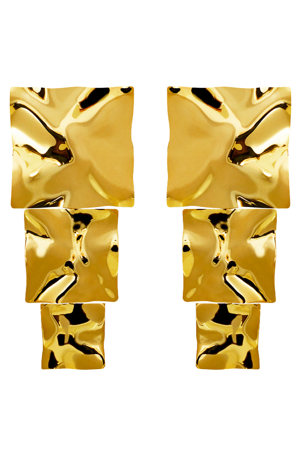 Cao Block Earrings in Gold