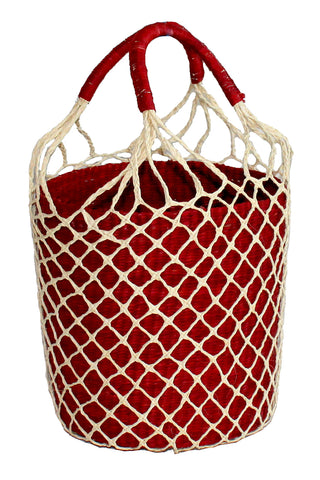 Net Bucket Bag in Brown