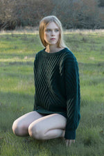 Caitlin Chevron Rib Pullover in Forest Green thumbnail