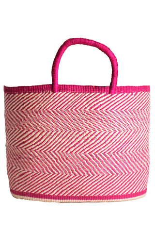 Pink Zig Zag Woven Straw Tote