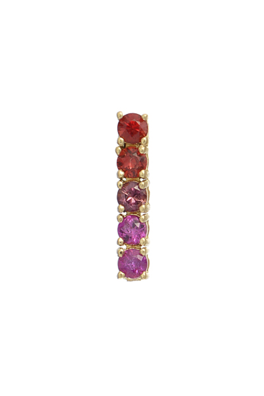 5 Sapphires Ping Pong Drop Earring in Red & Pink