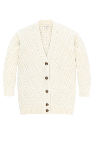 Fort Point Ribbed Cardigan in Natural