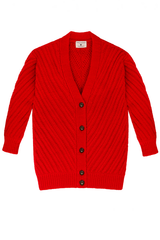 Fort Point Ribbed Cardigan in Poppy Red