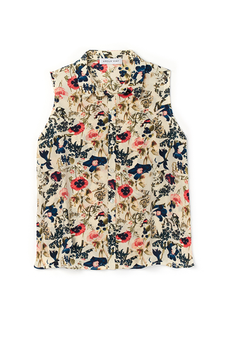Riley Sleeveless Button-Down in Vintage Floral