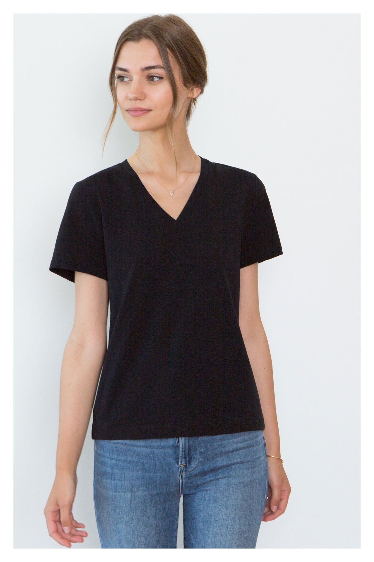 Magda Black Organic Cotton V-Neck T-Shirt