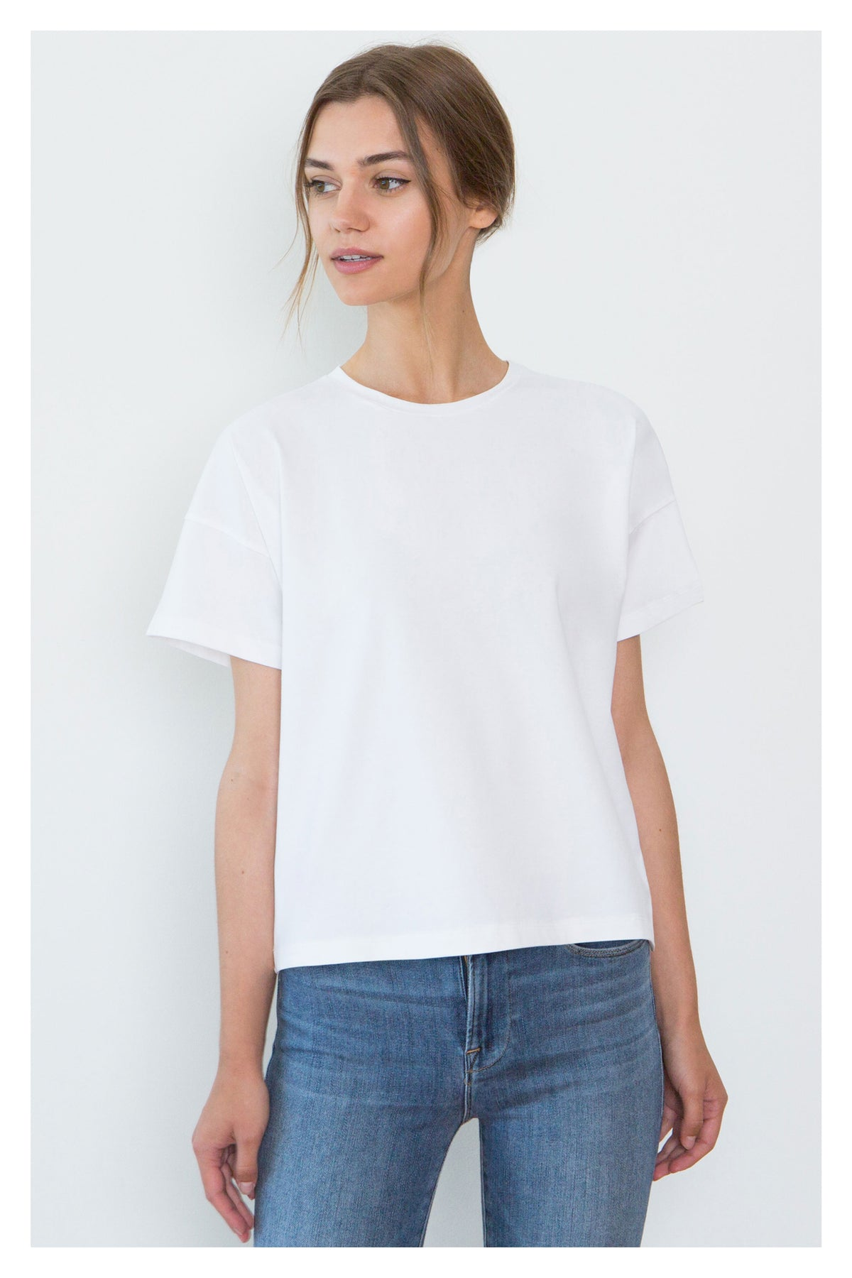 Bevin White Organic Cotton Boyfriend T-Shirt