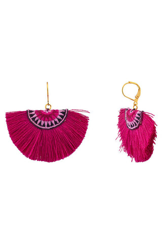 The Sophie Fan Earrings in Fuchsia