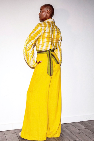 Yellow organic cotton wide-leg pants