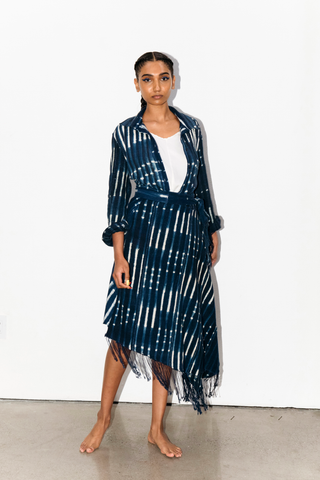 PRINTED INDIGO FRINGED WRAP SKIRT