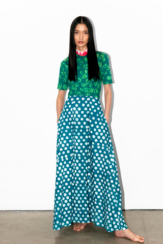 GREEN AND WHITE BUBBLE DOTS AND POLKA DOTS HAND-BATIK COTTON MANDARIN COLLAR SHIRT DRESS