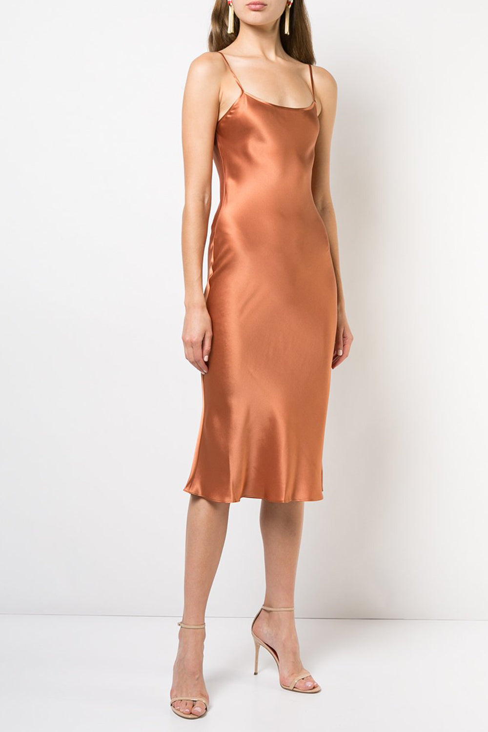 Midi Silk Slip Dress in Terracotta