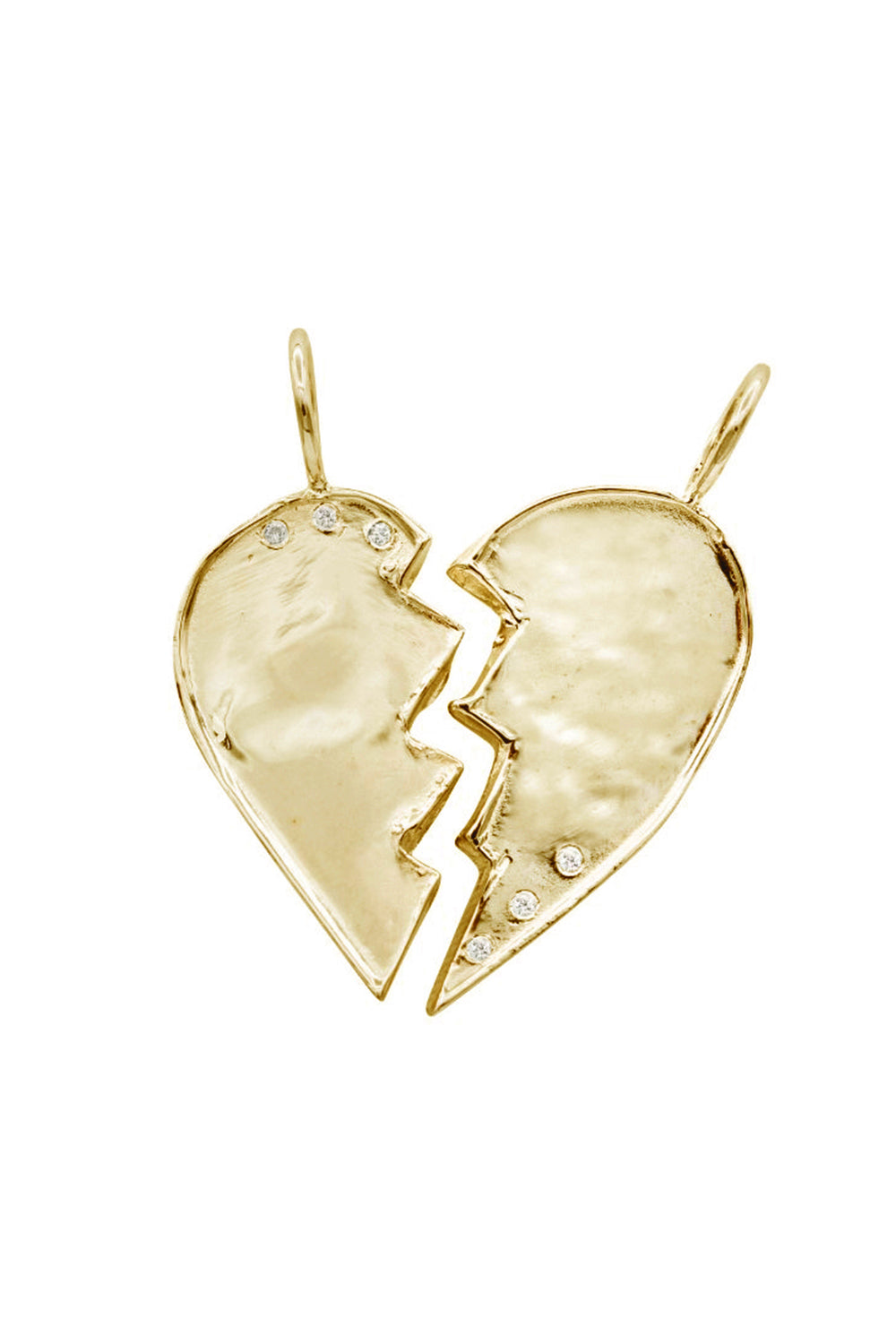 Gold Friendship Heart Charms with Diamonds