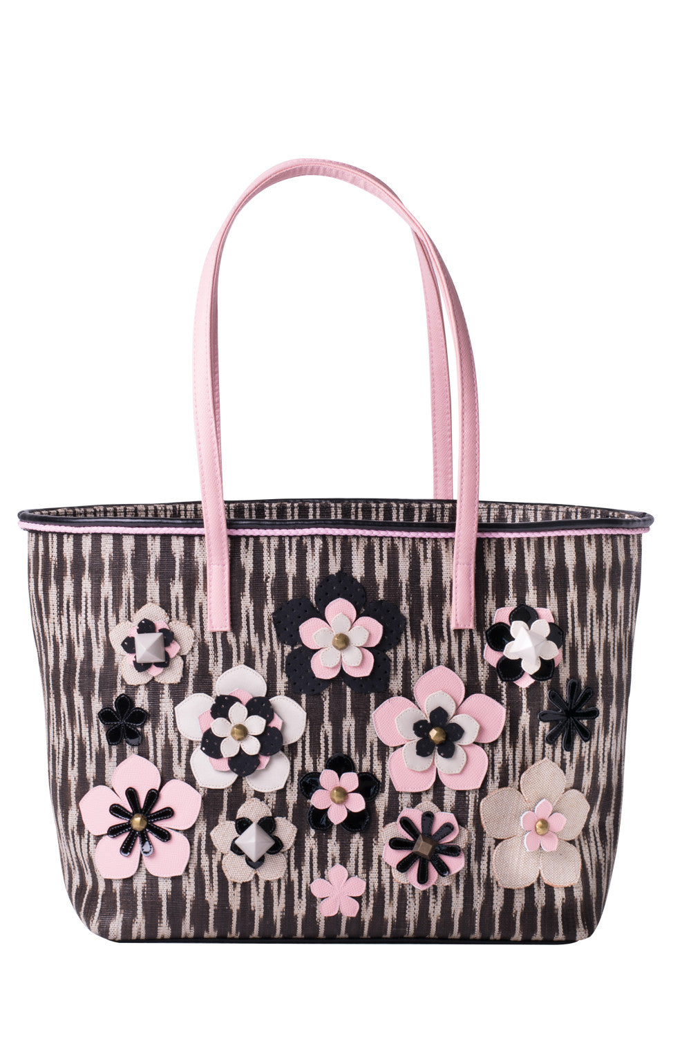TINALAK Tote in Black with Pink Flowers