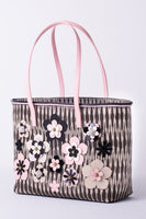 TINALAK Tote in Black with Pink Flowers thumbnail