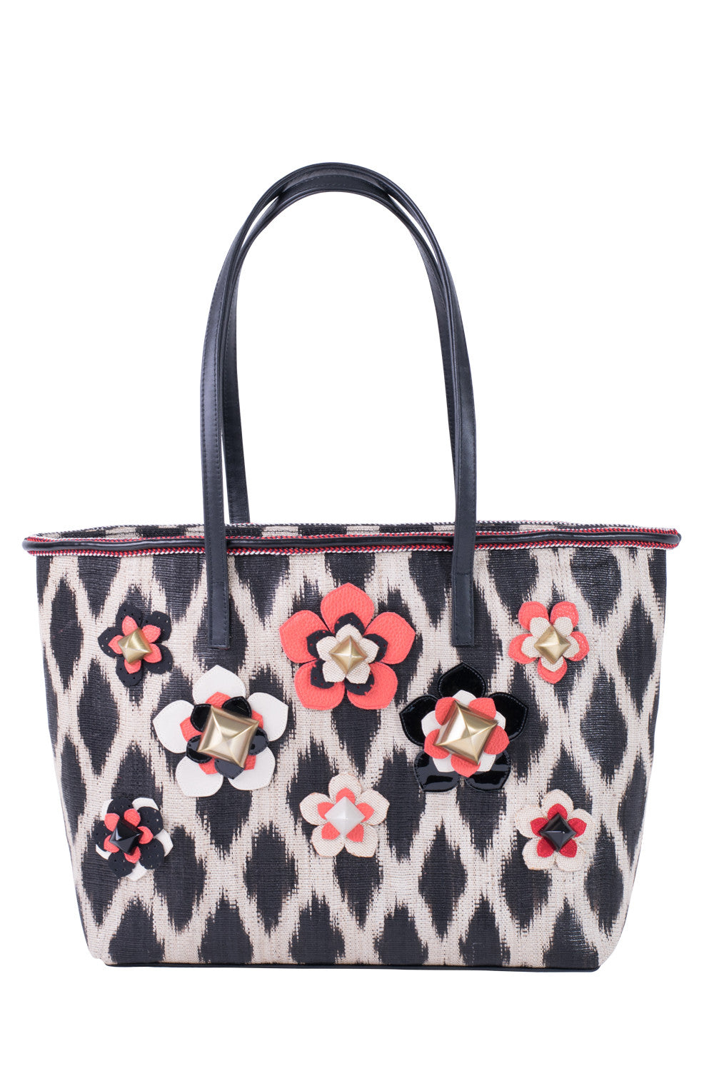 TINALAK Tote in Black with Red Flowers