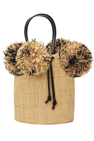 Raffia Mini Pom Pom Bag in Natural